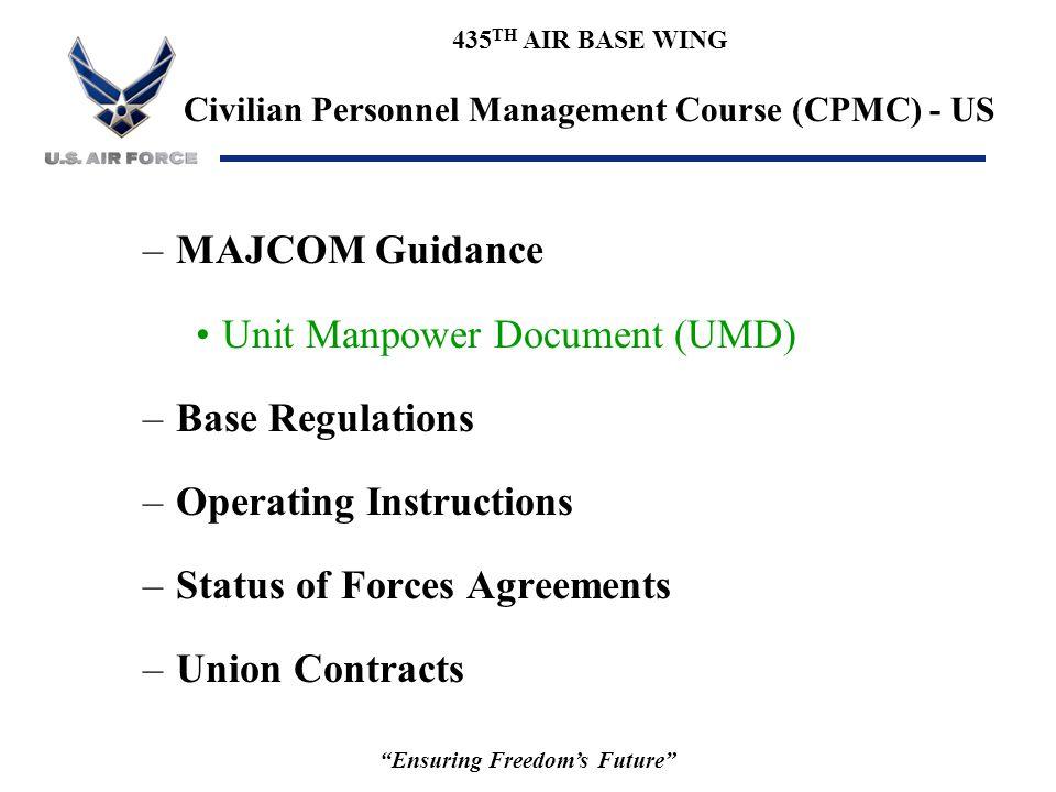 "435 TH AIR BASE WING Civilian Personnel Management Course (CPMC) - US ""Ensuring Freedom's Future"" –MAJCOM Guidance Unit Manpower Document (UMD) –Base"