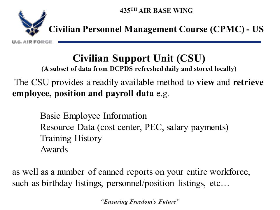 """435 TH AIR BASE WING Civilian Personnel Management Course (CPMC) - US """"Ensuring Freedom's Future"""" Civilian Support Unit (CSU) (A subset of data from D"""