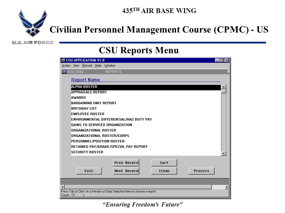 """435 TH AIR BASE WING Civilian Personnel Management Course (CPMC) - US """"Ensuring Freedom's Future"""" CSU Reports Menu"""