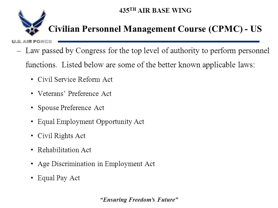 """435 TH AIR BASE WING Civilian Personnel Management Course (CPMC) - US """"Ensuring Freedom's Future"""" –Law passed by Congress for the top level of authori"""