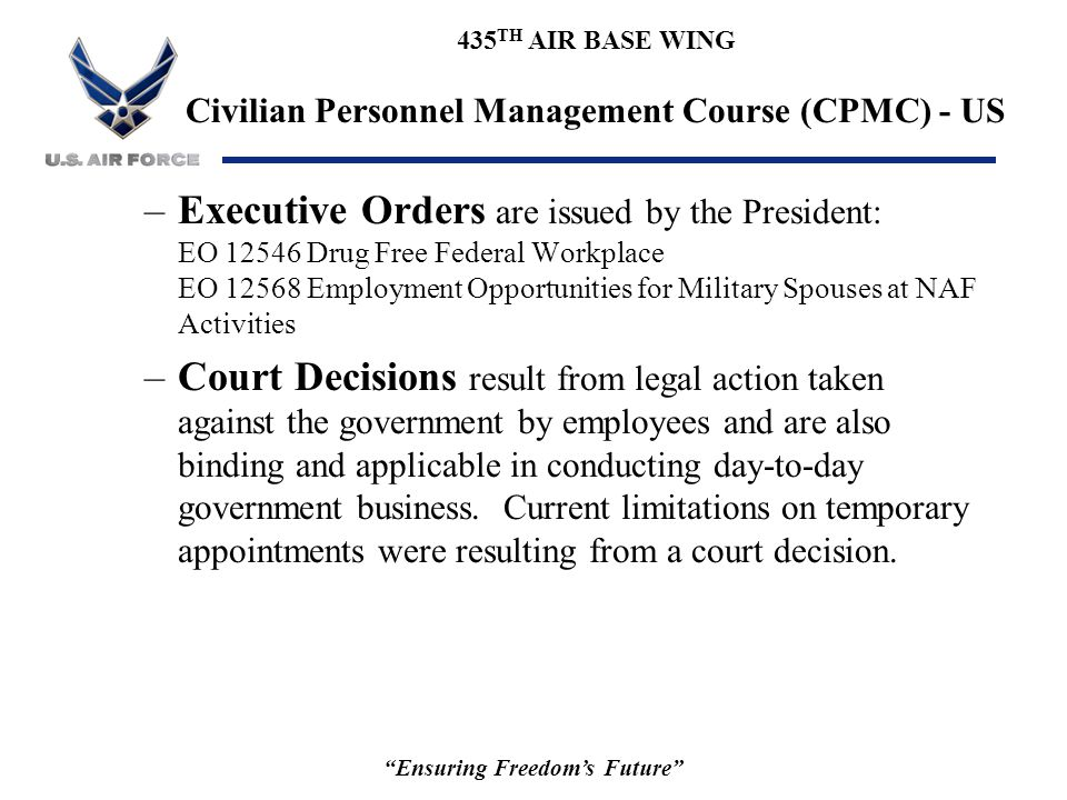 435 TH AIR BASE WING Civilian Personnel Management Course (CPMC) - US Ensuring Freedom's Future –OPM Policies and Procedures: Code of Federal Regulations (CFR) –Office of Personnel Management (OPM) (Title 5 Administrative Personnel Parts 1-1199) –Merit Systems Protection Board (MSPB) (Title 5 Parts 1200-1299) –Equal Opportunity Commission (Title 29 Labor Parts 1600-1699)