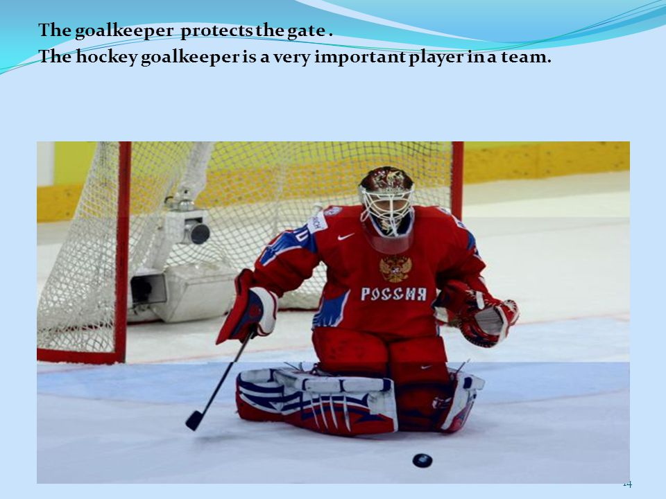 The goalkeeper protects the gate. The hockey goalkeeper is a very important player in a team. 14