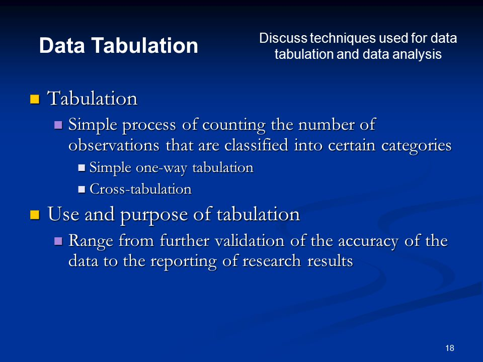18 Tabulation Tabulation Simple process of counting the number of observations that are classified into certain categories Simple process of counting the number of observations that are classified into certain categories Simple one-way tabulation Simple one-way tabulation Cross-tabulation Cross-tabulation Use and purpose of tabulation Use and purpose of tabulation Range from further validation of the accuracy of the data to the reporting of research results Range from further validation of the accuracy of the data to the reporting of research results Data Tabulation Discuss techniques used for data tabulation and data analysis