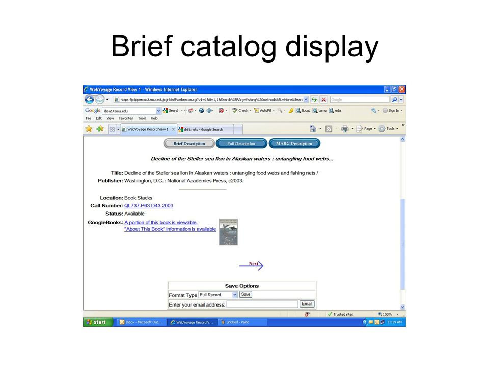 Brief catalog display