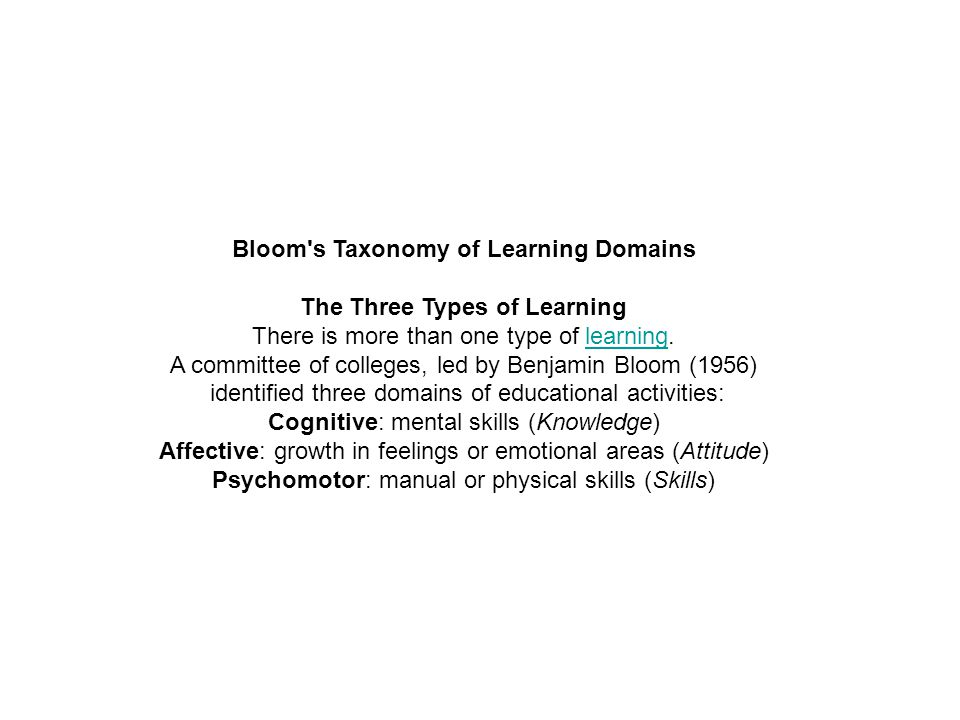 Bloom's Taxonomy of Learning Domains The Three Types of Learning There is more than one type of learning.learning A committee of colleges, led by Benj