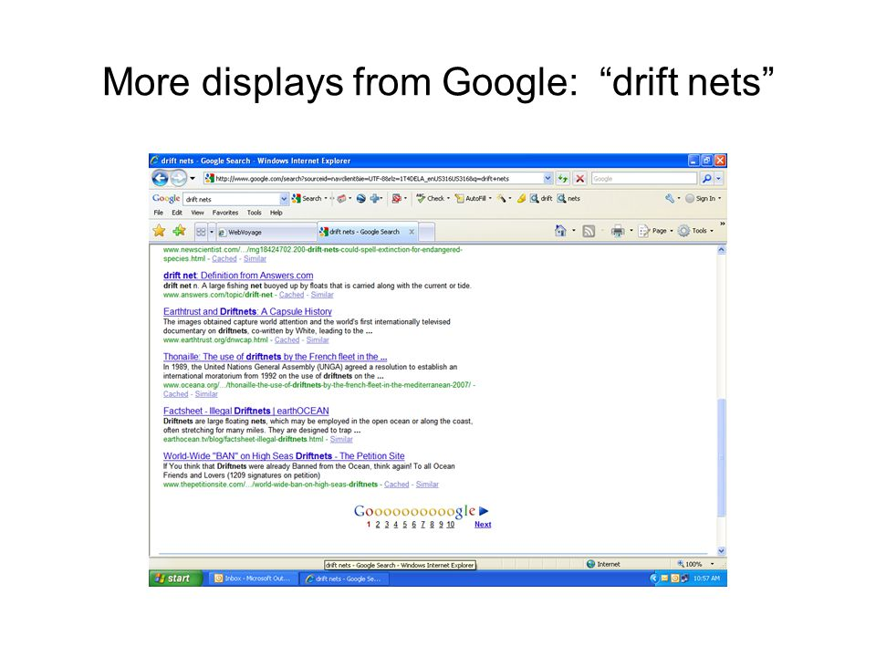 "More displays from Google: ""drift nets"""