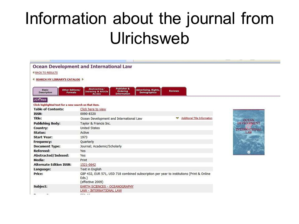 Information about the journal from Ulrichsweb