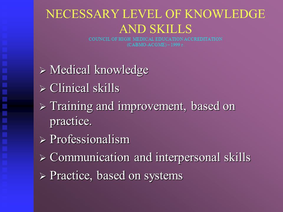 NECESSARY LEVEL OF KNOWLEDGE AND SKILLS COUNCIL OF HIGH MEDICAL EDUCATION ACCREDITATION (САВМО-ACGME) – 1999 г.