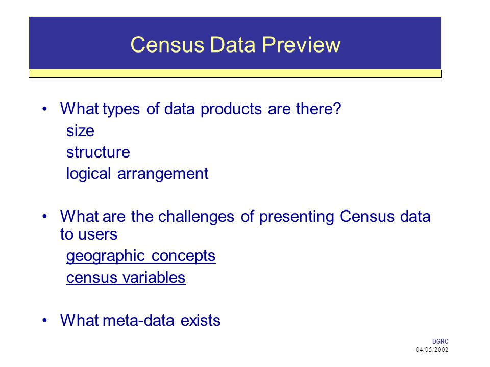 DGRC 04/05/2002 Census Data Preview What types of data products are there.
