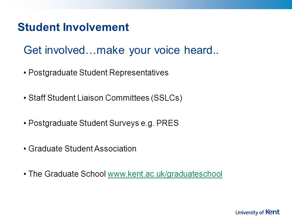 Student Involvement Get involved…make your voice heard..