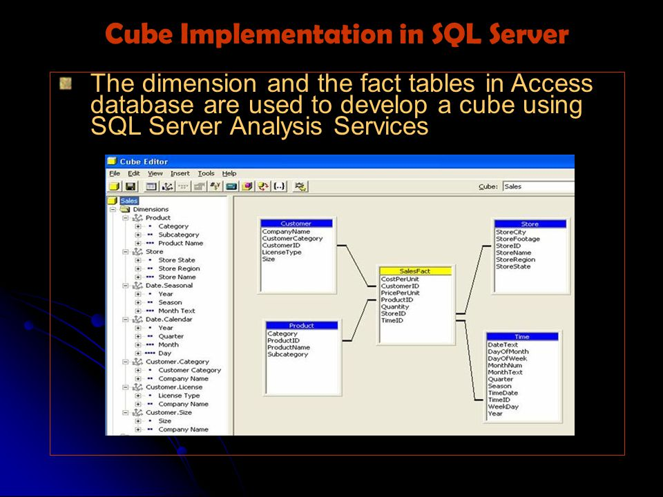 The dimension and the fact tables in Access database are used to develop a cube using SQL Server Analysis Services Cube Implementation in SQL Server