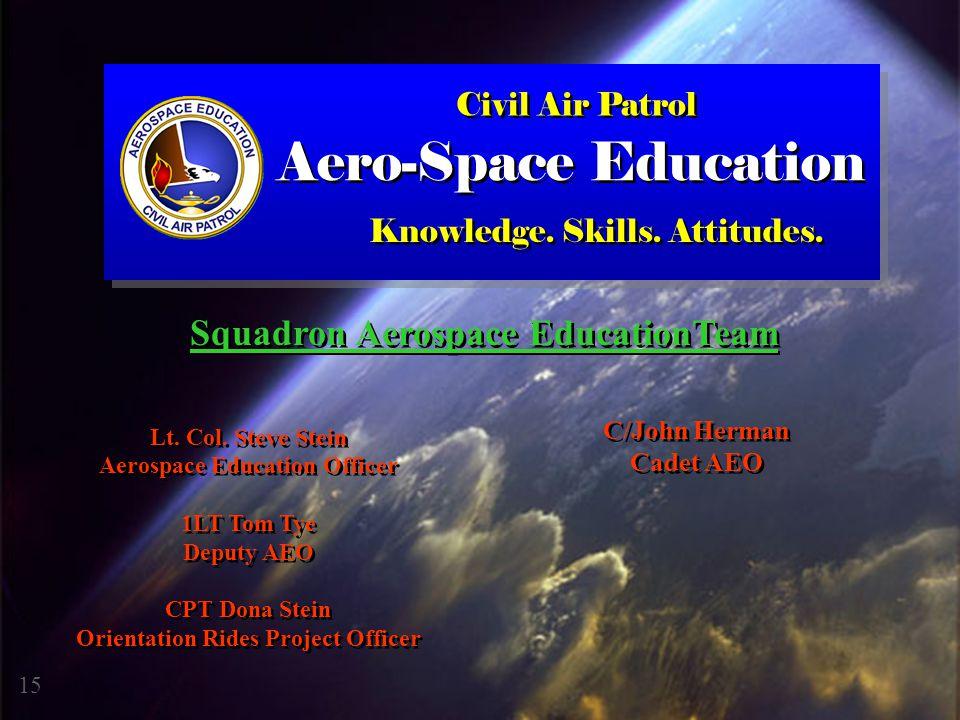 Civil Air Patrol Knowledge. Skills. Attitudes. Lt. Col. Steve Stein Aerospace Education Officer 1LT Tom Tye Deputy AEO CPT Dona Stein Orientation Ride