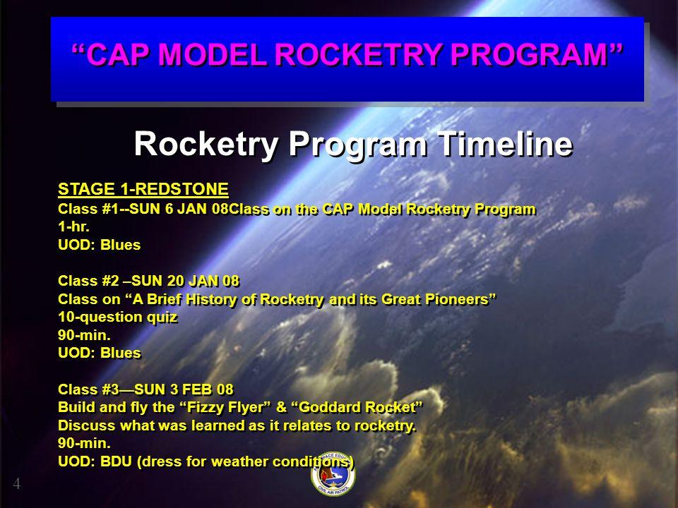 """""""CAP MODEL ROCKETRY PROGRAM"""" 4 Rocketry Program Timeline STAGE 1-REDSTONE Class #1--SUN 6 JAN 08Class on the CAP Model Rocketry Program 1-hr. UOD: Blu"""