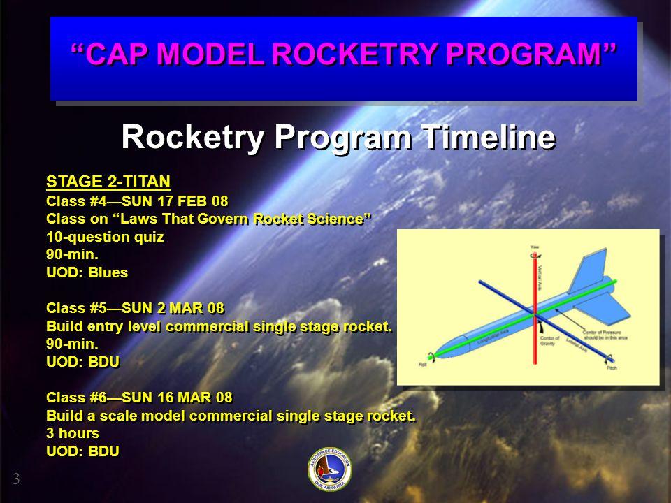 """CAP MODEL ROCKETRY PROGRAM"" Rocketry Program Timeline STAGE 2-TITAN Class #4—SUN 17 FEB 08 Class on ""Laws That Govern Rocket Science"" 10-question qui"