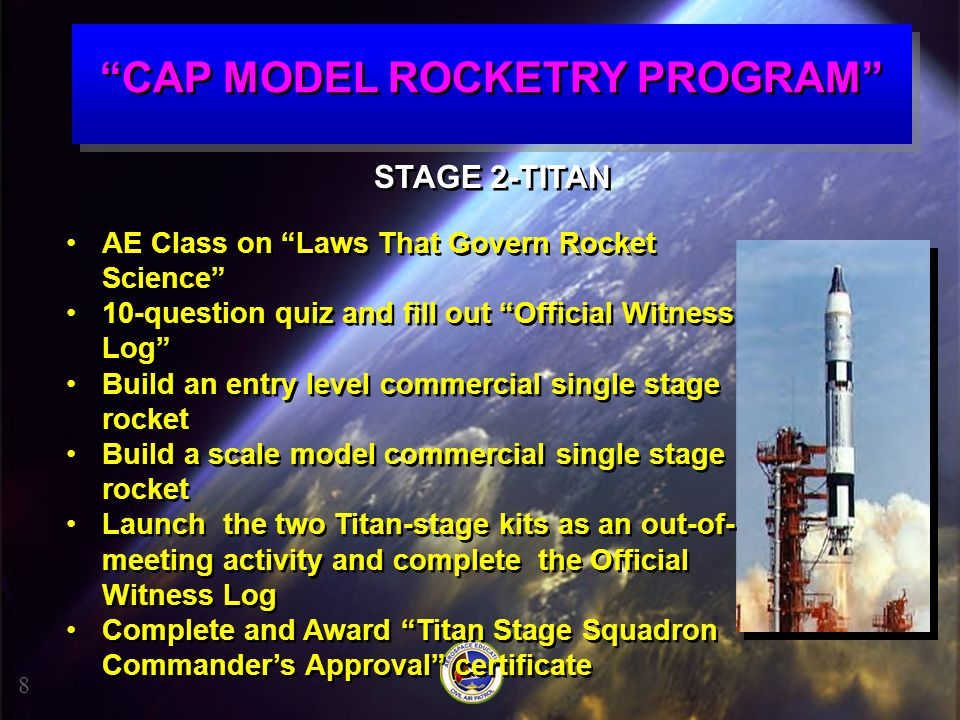 """""""CAP MODEL ROCKETRY PROGRAM"""" 8 STAGE 2-TITAN AE Class on """"Laws That Govern Rocket Science"""" 10-question quiz and fill out """"Official Witness Log"""" Build"""