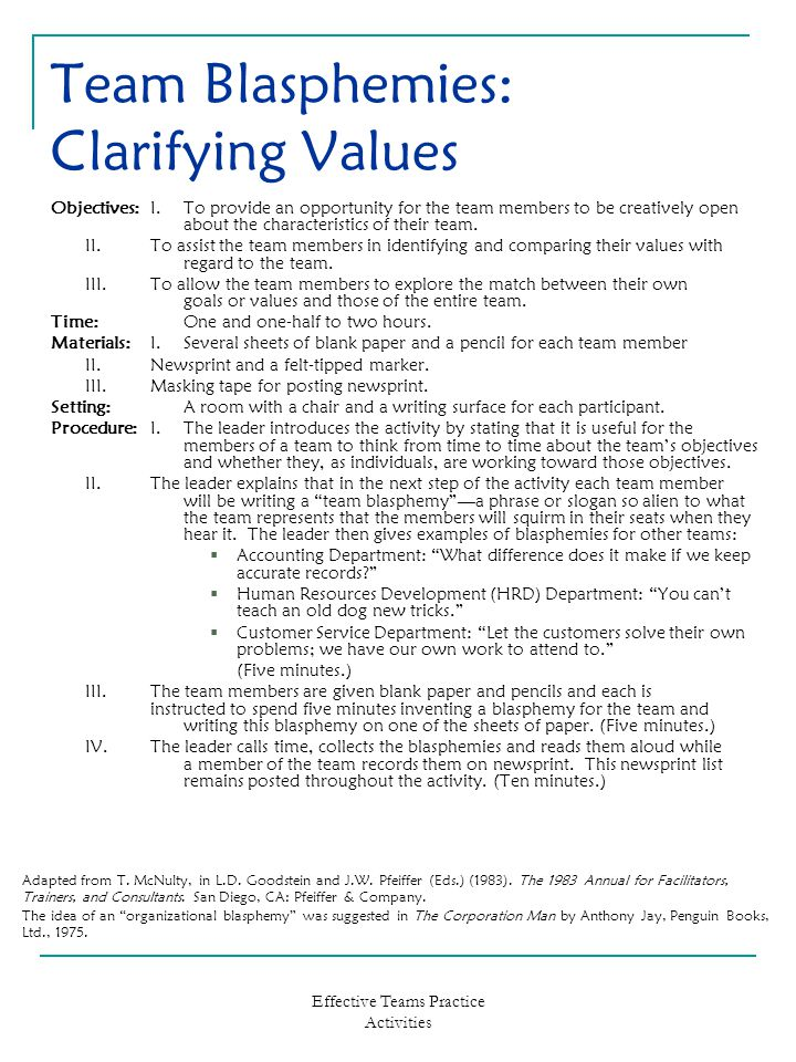 Effective Teams Practice Activities Team Blasphemies: Clarifying Values Objectives:I.To provide an opportunity for the team members to be creatively o