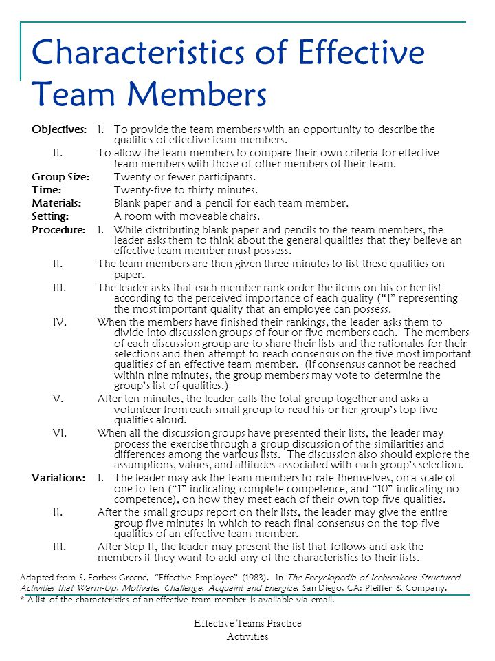 Effective Teams Practice Activities Characteristics of Effective Team Members Objectives:I.To provide the team members with an opportunity to describe