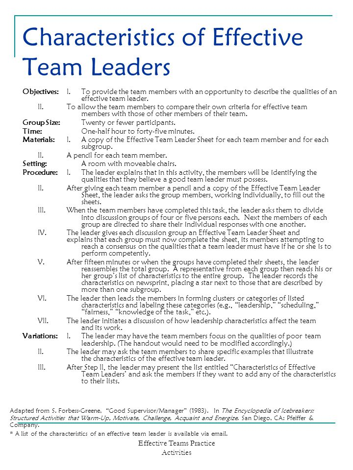 Effective Teams Practice Activities Characteristics of Effective Team Leaders Objectives:I.To provide the team members with an opportunity to describe