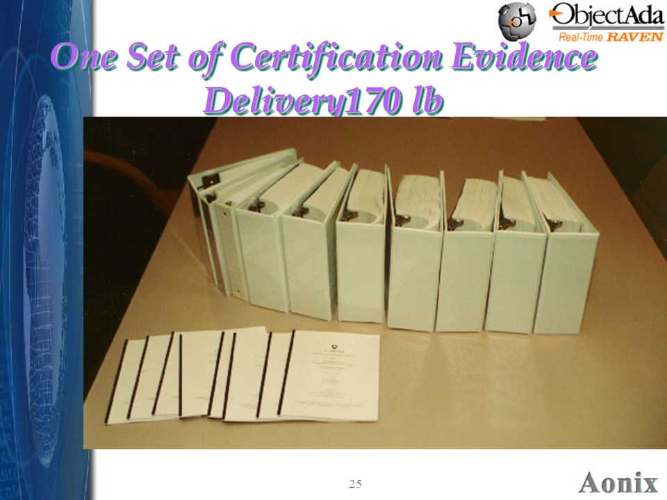 25 One Set of Certification Evidence Delivery170 lb