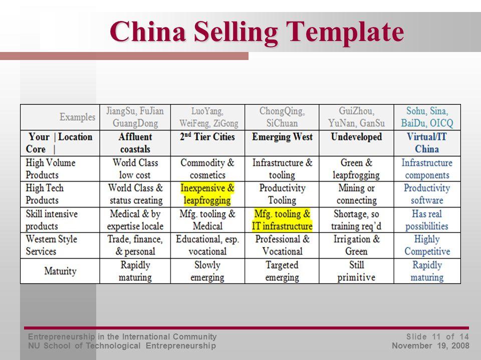 Entrepreneurship in the International Community NU School of Technological Entrepreneurship Slide 11 of 14 November 19, 2008 China Selling Template