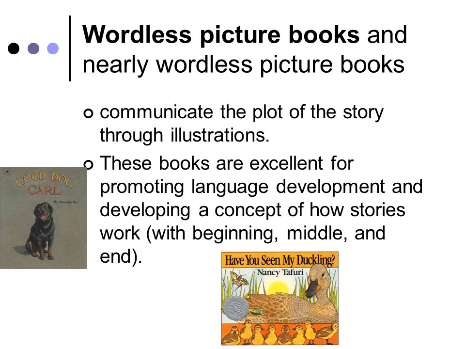 Wordless picture books and nearly wordless picture books communicate the plot of the story through illustrations.