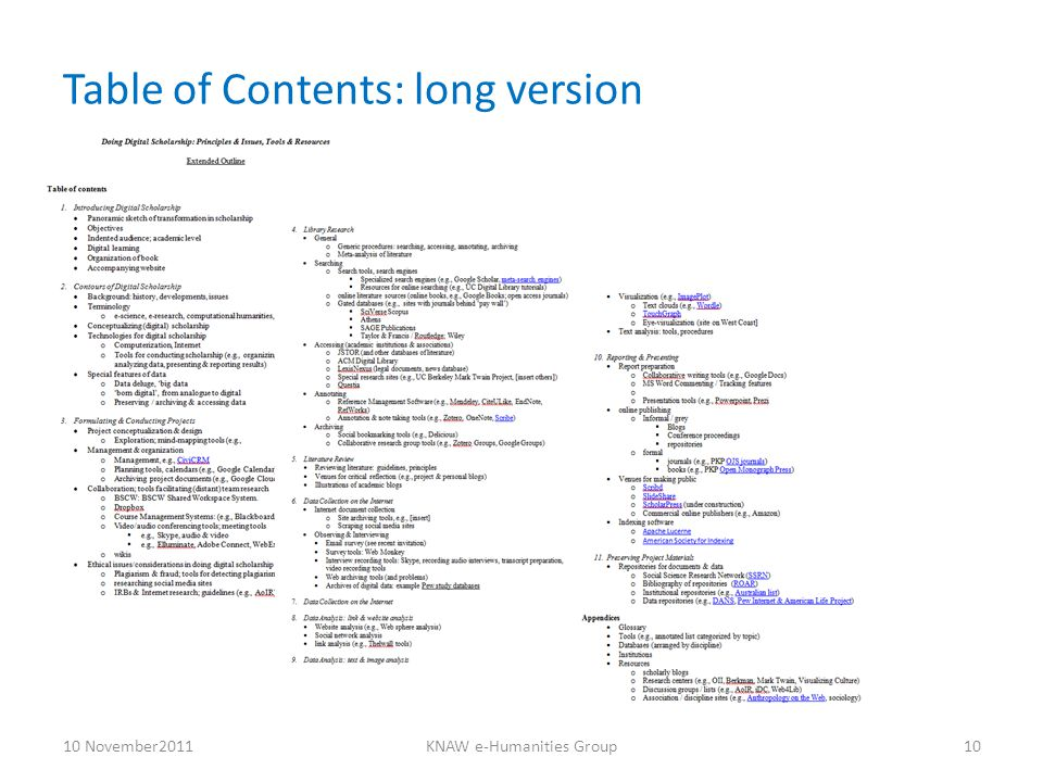 Table of Contents: long version 10 November2011KNAW e-Humanities Group10