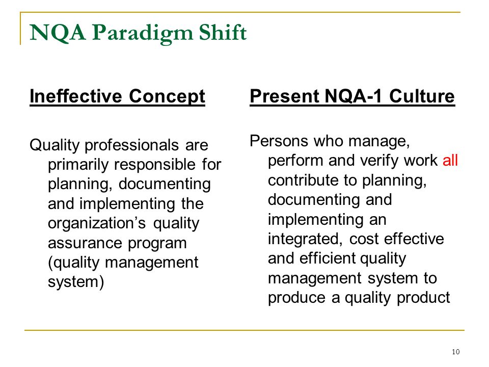 10 NQA Paradigm Shift Ineffective Concept Quality professionals are primarily responsible for planning, documenting and implementing the organization's quality assurance program (quality management system) Present NQA-1 Culture Persons who manage, perform and verify work all contribute to planning, documenting and implementing an integrated, cost effective and efficient quality management system to produce a quality product