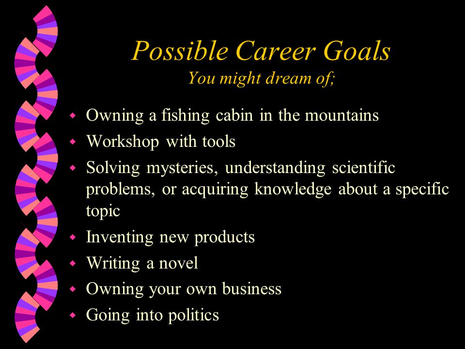 Possible Career Goals You might dream of; w Owning a fishing cabin in the mountains w Workshop with tools w Solving mysteries, understanding scientifi