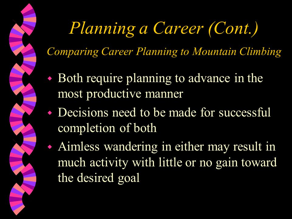 Planning a Career (Cont.) Comparing Career Planning to Mountain Climbing w Both require planning to advance in the most productive manner w Decisions need to be made for successful completion of both w Aimless wandering in either may result in much activity with little or no gain toward the desired goal