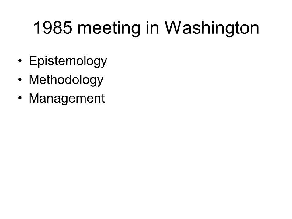 1988 meeting in Tallinn, Estonia Epistemology Methodology Management Large-scale social experiments