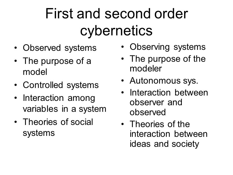 Fields originating 2nd order cybernetics Linguistics -- language limits what can be discussed Mathematics -- self-referential statements lead to paradox Neurophysiology -- observations independent of the characteristics of the observer are not physically possible