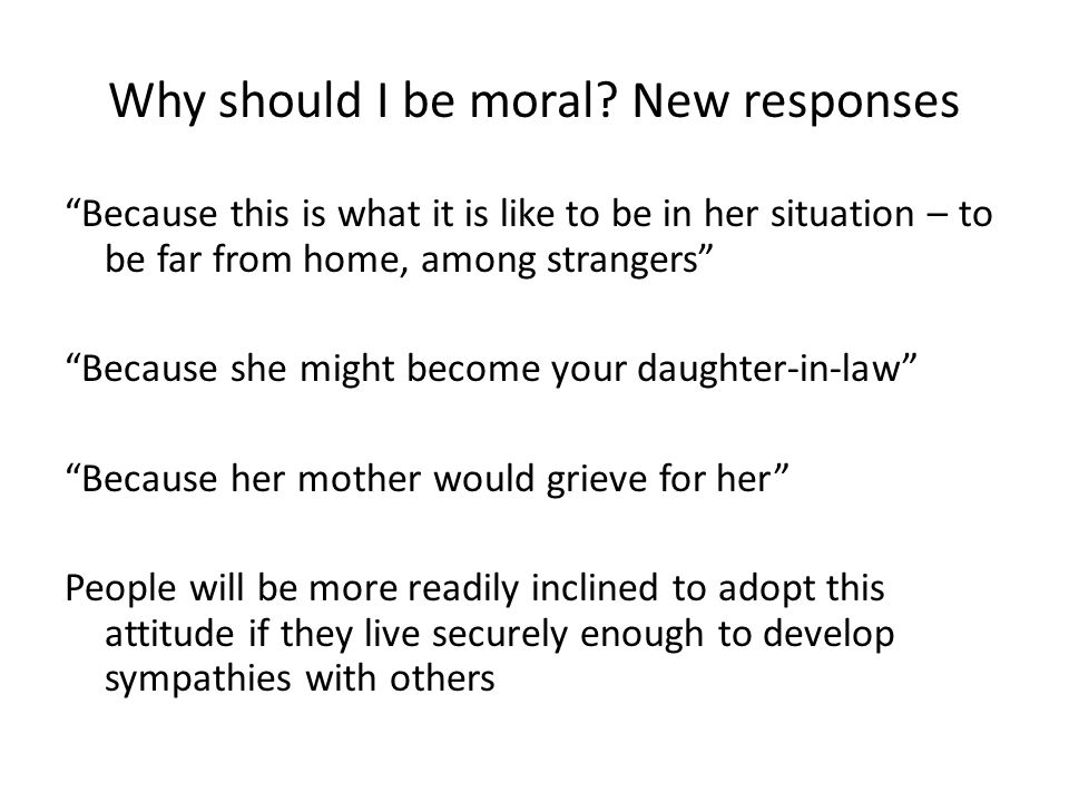 Why should I be moral.