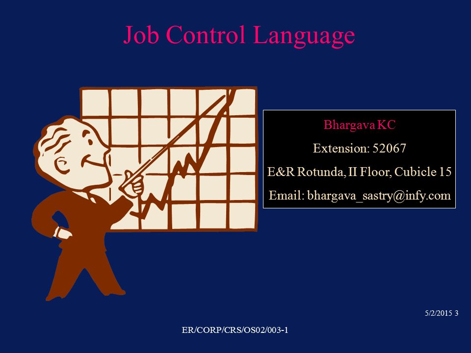 5/2/2015 3 ER/CORP/CRS/OS02/003-1 Job Control Language Bhargava KC Extension: 52067 E&R Rotunda, II Floor, Cubicle 15 Email: bhargava_sastry@infy.com
