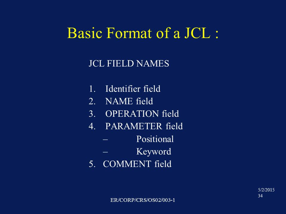 5/2/2015 34 ER/CORP/CRS/OS02/003-1 Basic Format of a JCL : JCL FIELD NAMES 1.