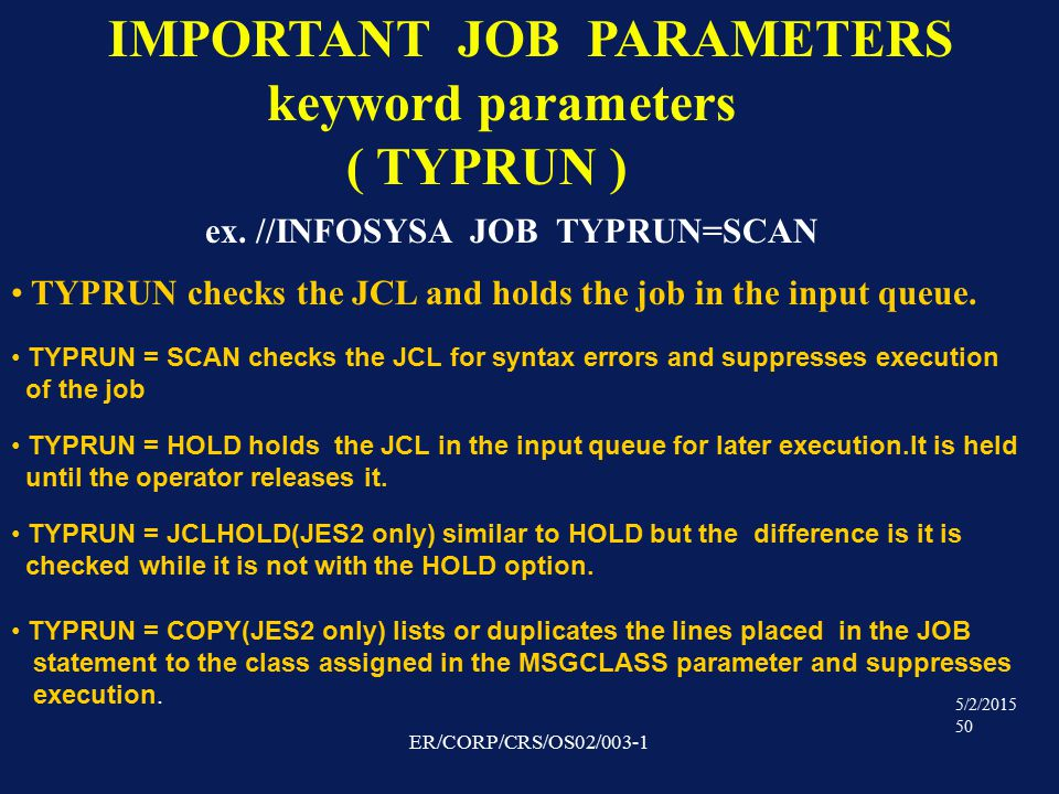 5/2/2015 50 ER/CORP/CRS/OS02/003-1 IMPORTANT JOB PARAMETERS keyword parameters ( TYPRUN ) ex.