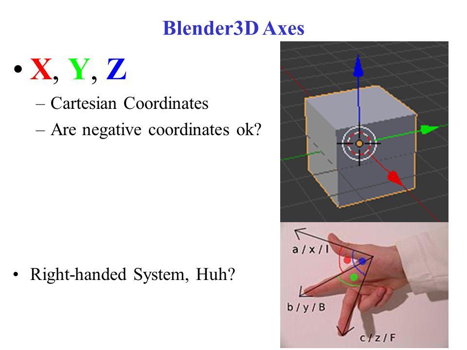 Blender3D Axes X, Y, Z –Cartesian Coordinates –Are negative coordinates ok.