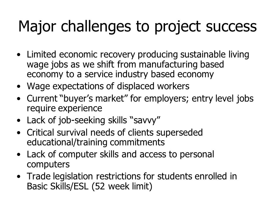 Major challenges to project success Limited economic recovery producing sustainable living wage jobs as we shift from manufacturing based economy to a service industry based economy Wage expectations of displaced workers Current buyer's market for employers; entry level jobs require experience Lack of job-seeking skills savvy Critical survival needs of clients superseded educational/training commitments Lack of computer skills and access to personal computers Trade legislation restrictions for students enrolled in Basic Skills/ESL (52 week limit)