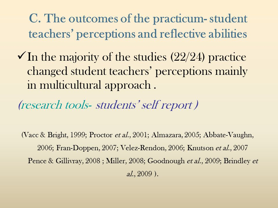C. The outcomes of the practicum- student teachers' perceptions and reflective abilities In the majority of the studies (22/24) practice changed stude