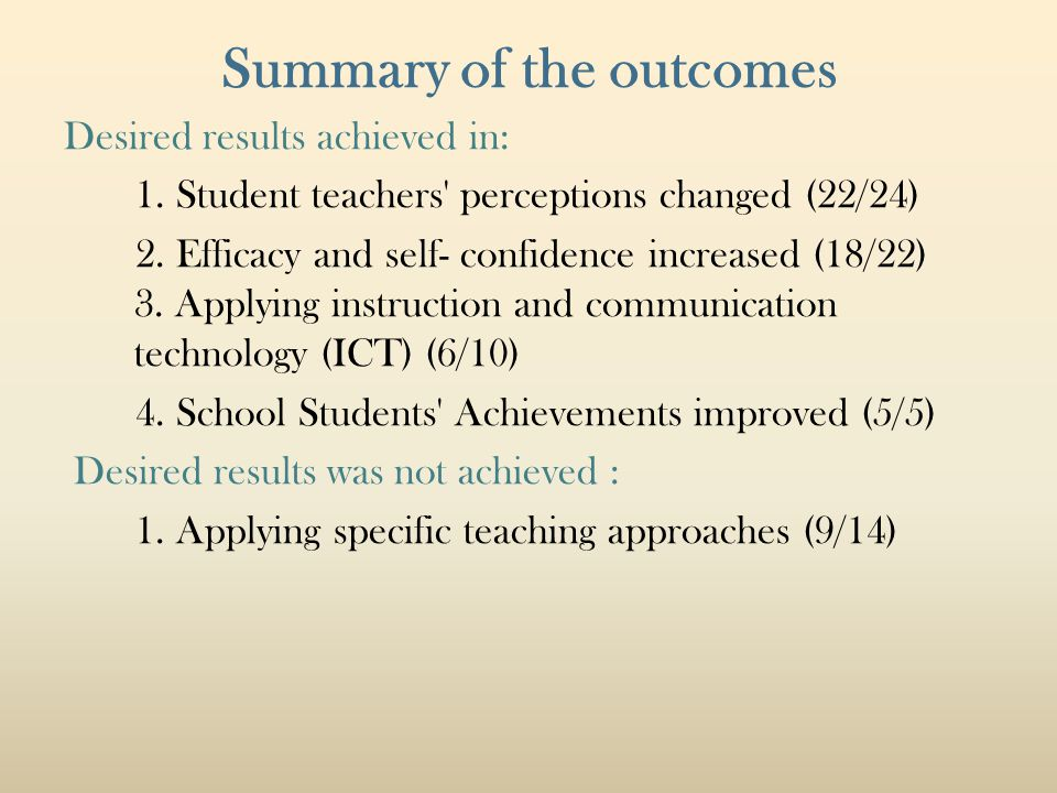 Summary of the outcomes Desired results achieved in: 1. Student teachers' perceptions changed (22/24) 2. Efficacy and self- confidence increased (18/2