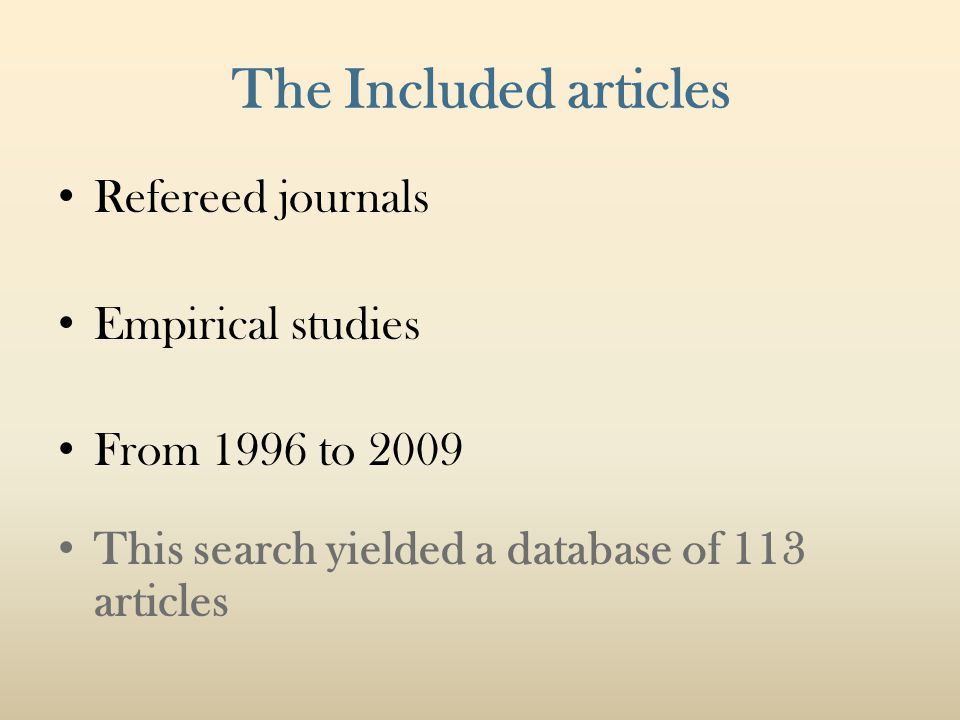 The Included articles Refereed journals Empirical studies From 1996 to 2009 This search yielded a database of 113 articles