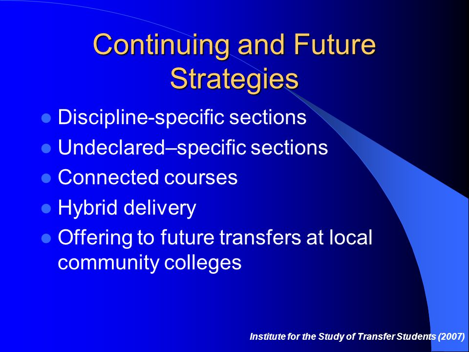Continuing and Future Strategies Discipline-specific sections Undeclared–specific sections Connected courses Hybrid delivery Offering to future transfers at local community colleges Institute for the Study of Transfer Students (2007)