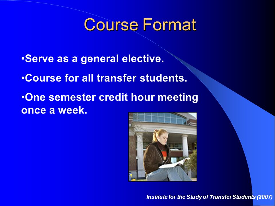 Course Format Serve as a general elective.Course for all transfer students.