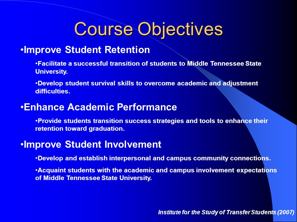 Course Objectives Improve Student Retention Facilitate a successful transition of students to Middle Tennessee State University.