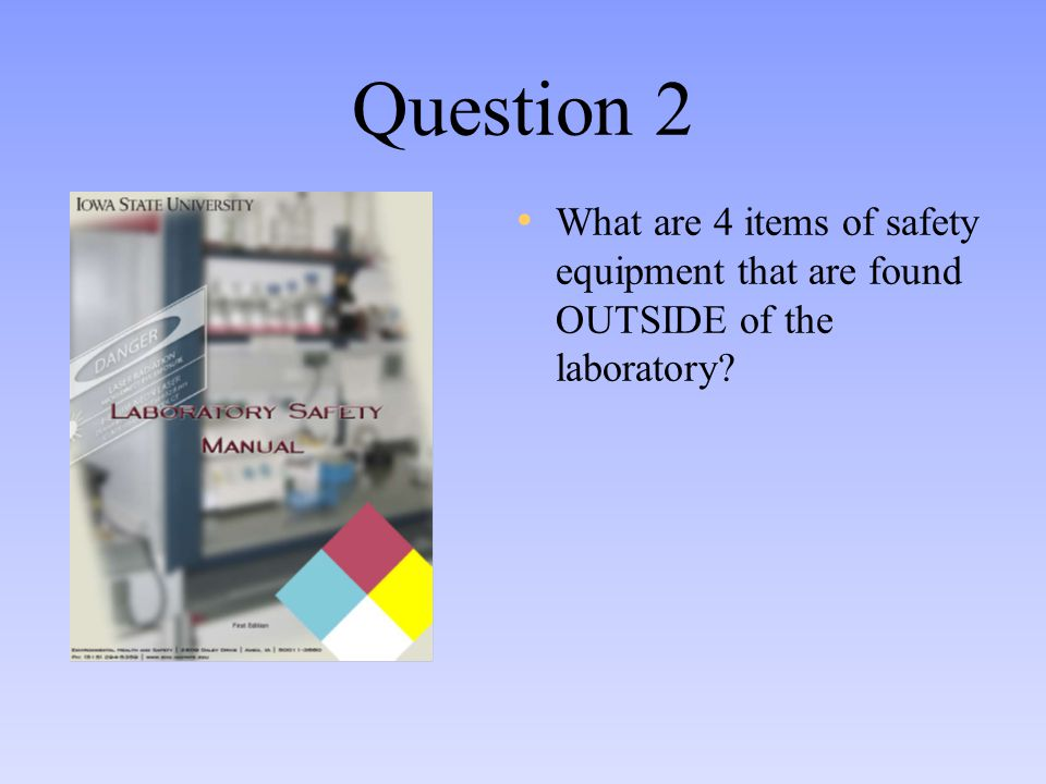 Question 2 What are 4 items of safety equipment that are found OUTSIDE of the laboratory?