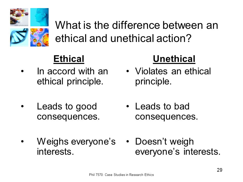 Phil 7570: Case Studies in Research Ethics 29 What is the difference between an ethical and unethical action.