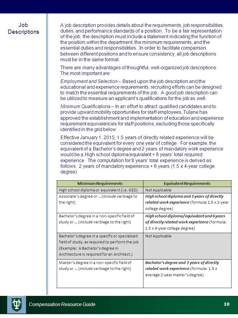 10 Compensation Resource Guide Job Descriptions A job description provides details about the requirements, job responsibilities, duties, and performan