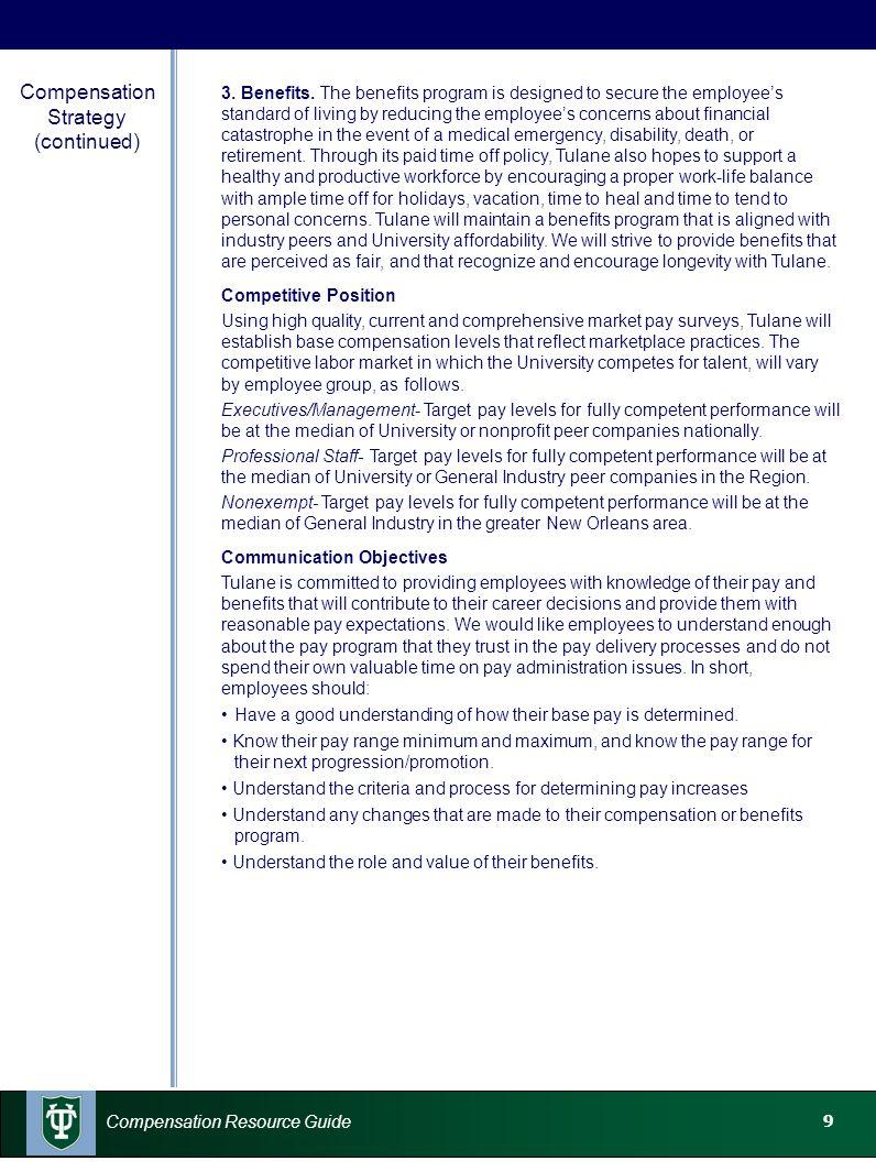 10 Compensation Resource Guide Job Descriptions A job description provides details about the requirements, job responsibilities, duties, and performance standards of a position.
