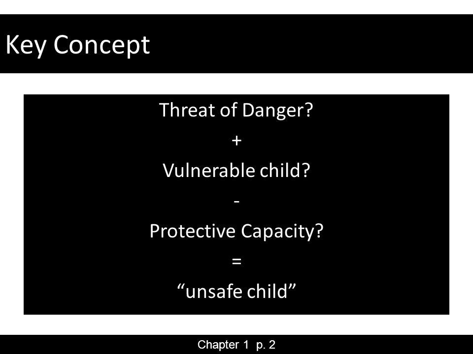 Key Concept Threat of Danger. + Vulnerable child.
