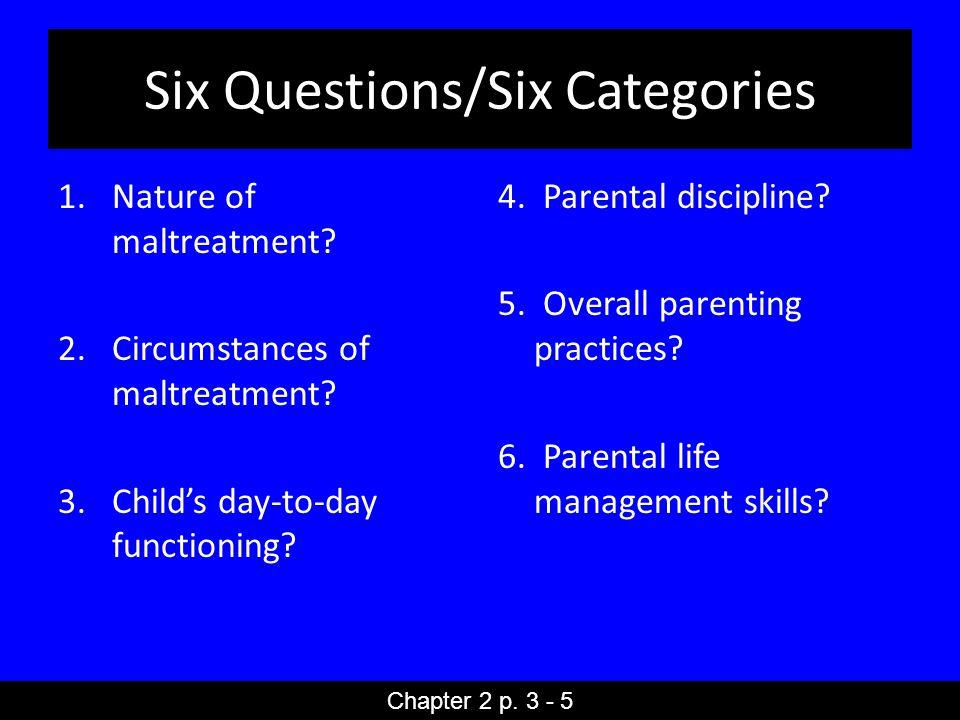 Six Questions/Six Categories 1.Nature of maltreatment.