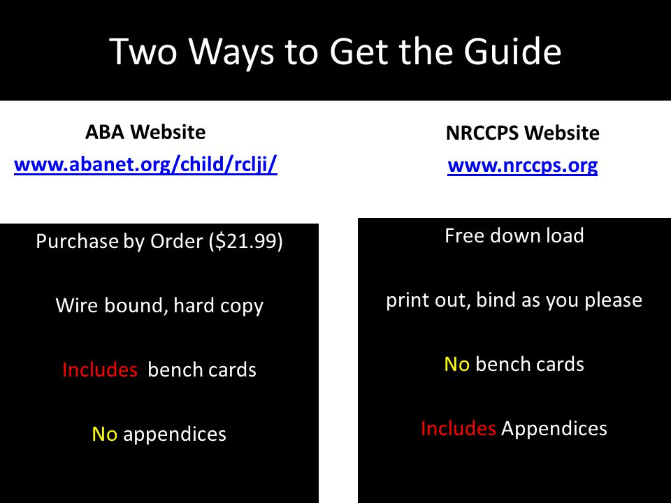 Two Ways to Get the Guide ABA Website www.abanet.org/child/rclji/ Purchase by Order ($21.99) Wire bound, hard copy Includes bench cards No appendices NRCCPS Website www.nrccps.org Free down load print out, bind as you please No bench cards Includes Appendices